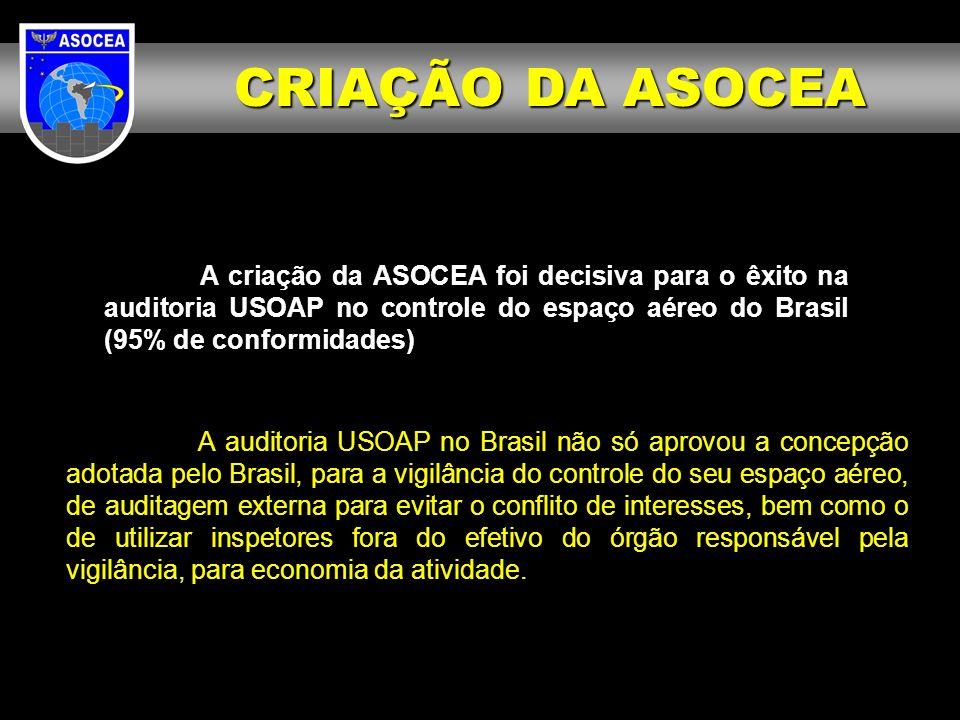 CRIAÇÃO DA ASOCEA A criação da ASOCEA foi decisiva para o êxito na auditoria USOAP no controle do espaço aéreo do Brasil (95% de conformidades)