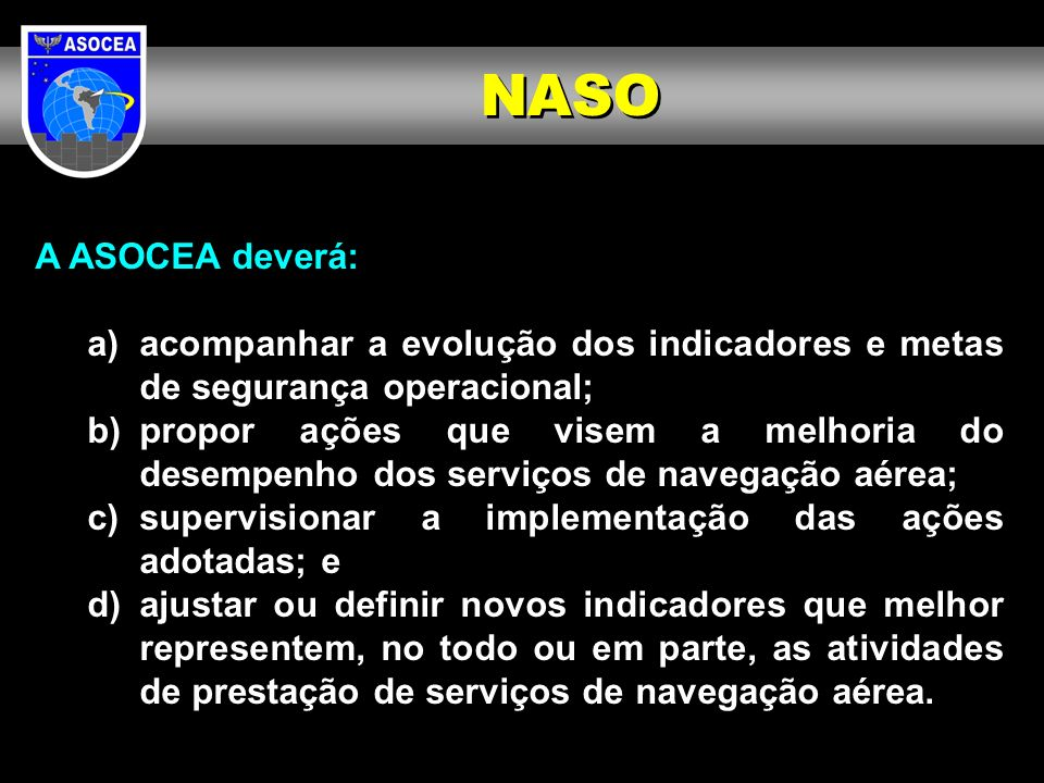 NASO A ASOCEA deverá: a) acompanhar a evolução dos indicadores e metas de segurança operacional;