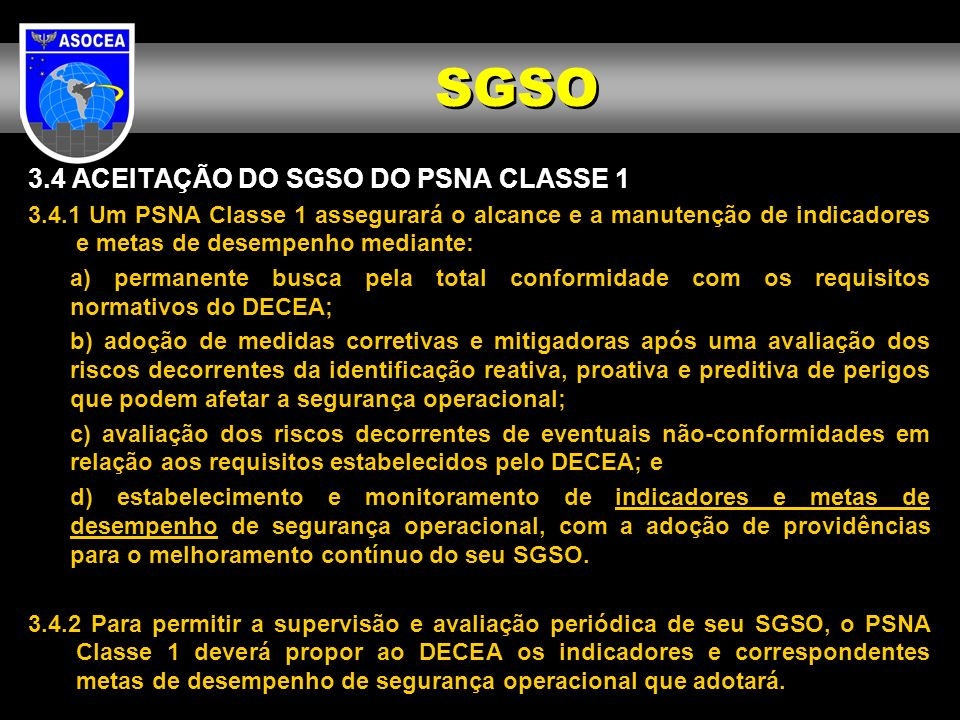 SGSO 3.4 ACEITAÇÃO DO SGSO DO PSNA CLASSE 1