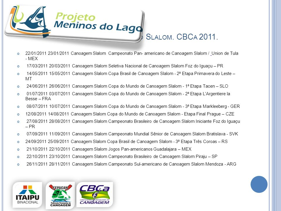 Calendario Slalom. CBCa 2011.