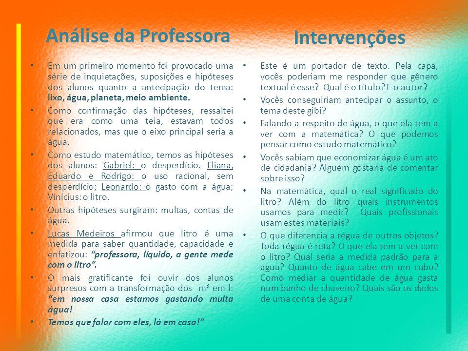 Análise da Professora Intervenções
