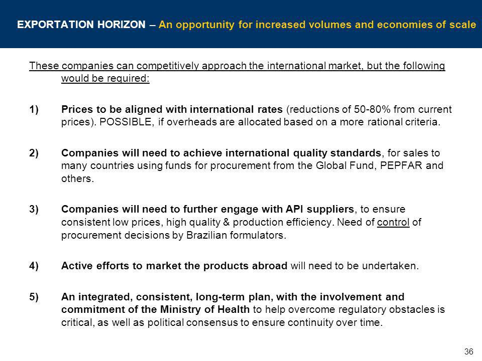 EXPORTATION HORIZON – An opportunity for increased volumes and economies of scale