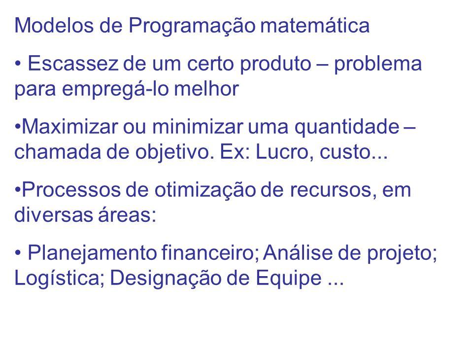 Modelos de Programação matemática