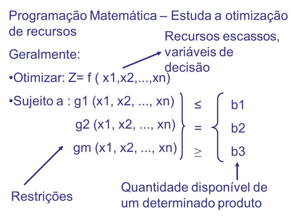 Programação Matemática – Estuda a otimização de recursos Geralmente: