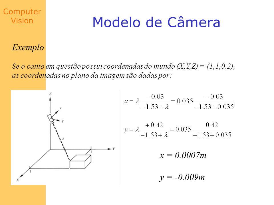 Modelo de Câmera Exemplo x = 0.0007m y = -0.009m