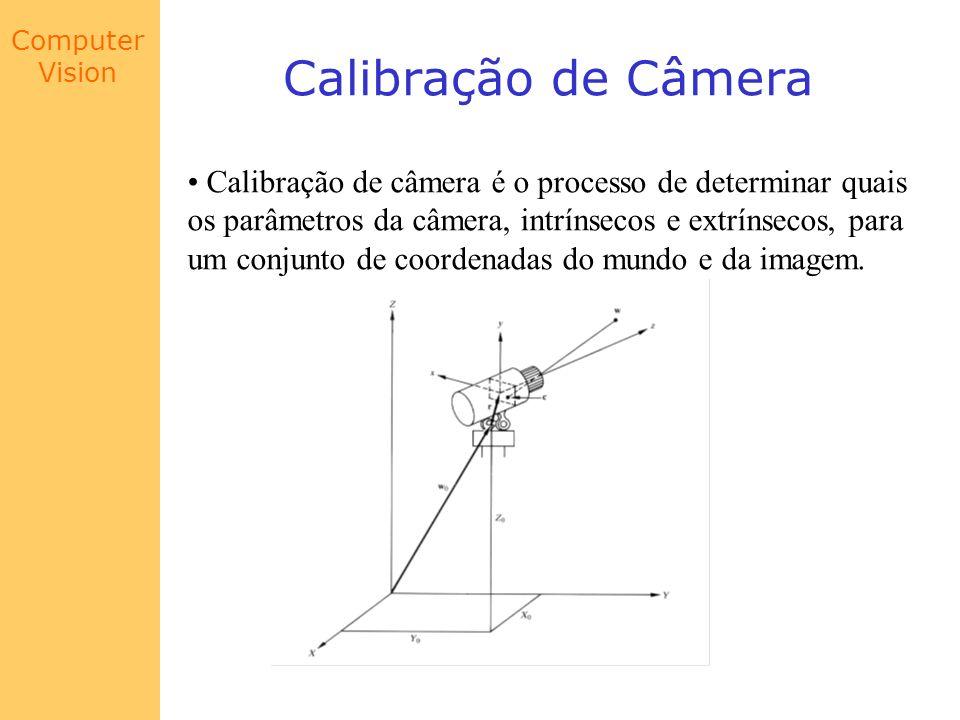 Calibração de Câmera Calibração de câmera é o processo de determinar quais. os parâmetros da câmera, intrínsecos e extrínsecos, para.