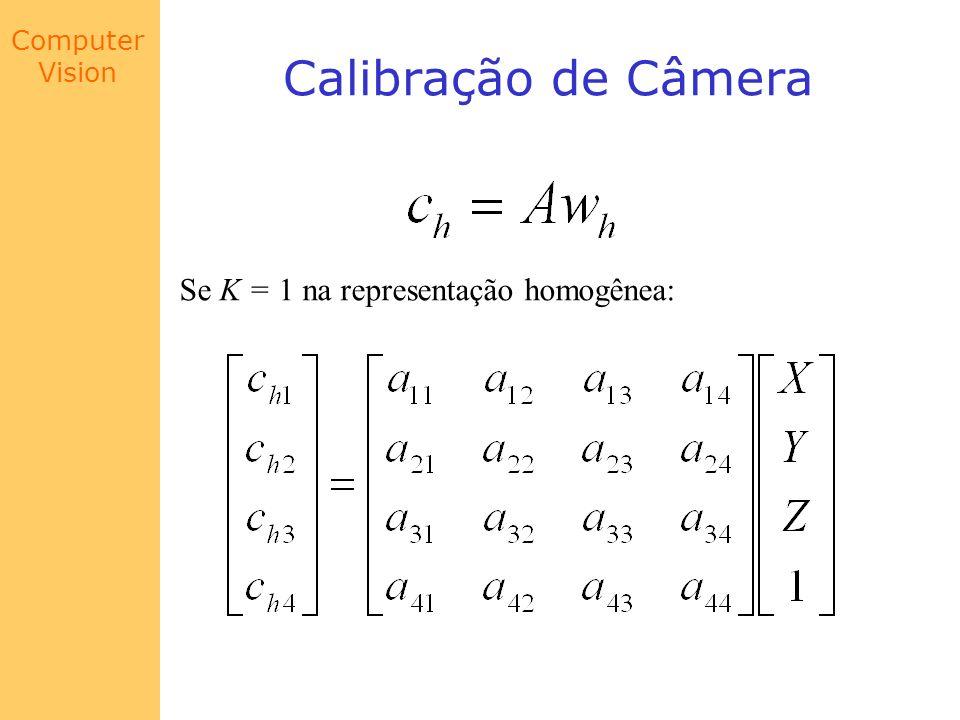 Calibração de Câmera Se K = 1 na representação homogênea: