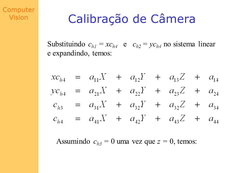 Calibração de Câmera Substituindo ch1 = xch4 e ch2 = ych4 no sistema linear. e expandindo, temos: