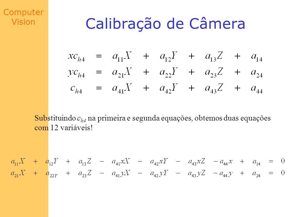 Calibração de Câmera Substituindo ch4 na primeira e segunda equações, obtemos duas equações.