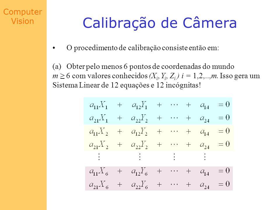Calibração de Câmera O procedimento de calibração consiste então em: