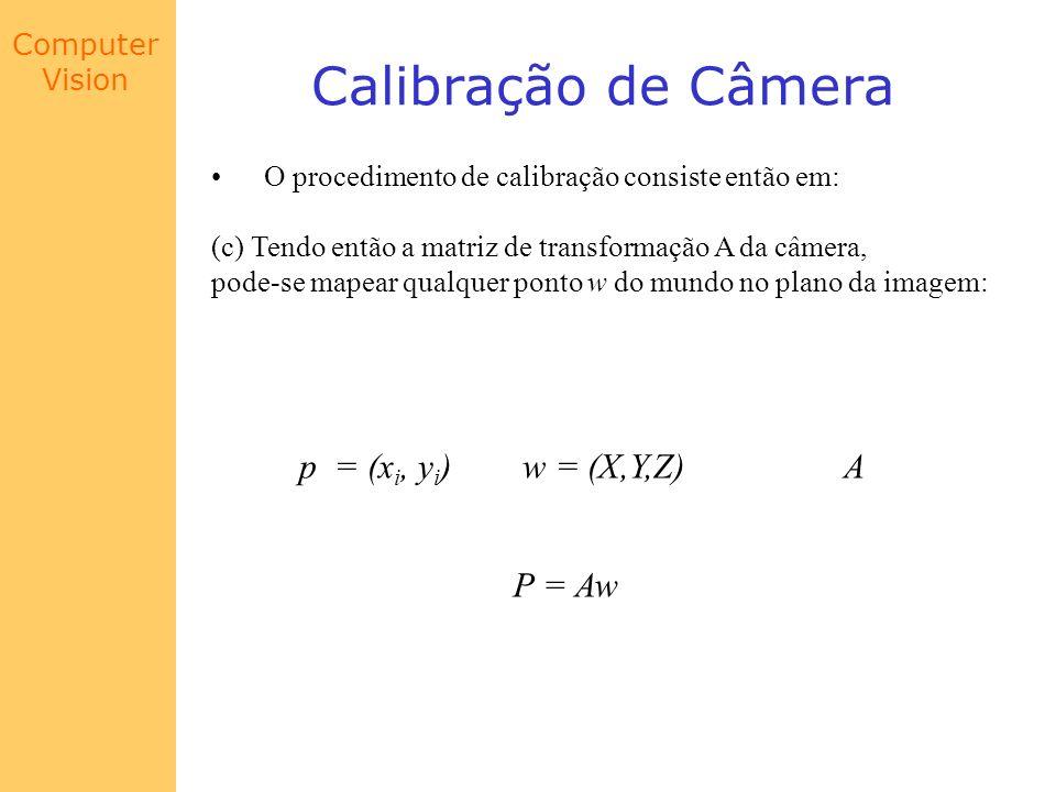 Calibração de Câmera p = (xi, yi) w = (X,Y,Z) A P = Aw