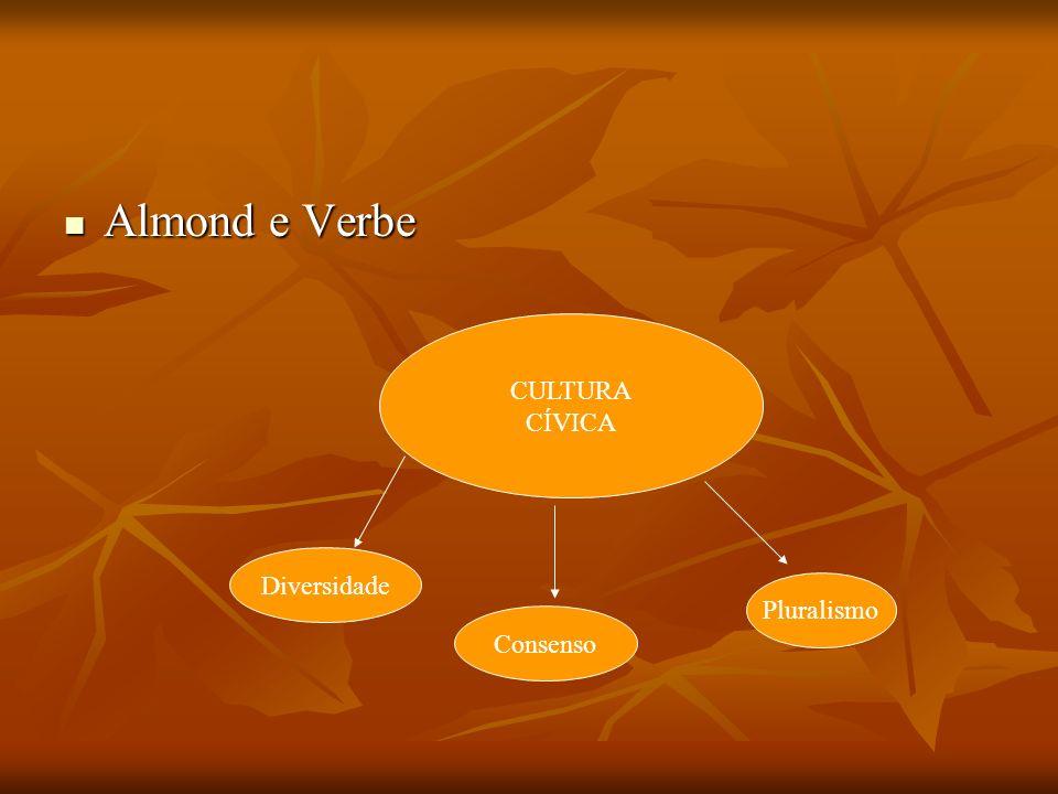 Almond e Verbe CULTURA CÍVICA Diversidade Pluralismo Consenso