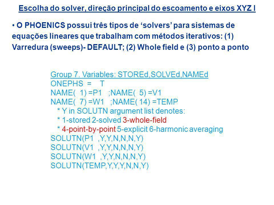 Escolha do solver, direção principal do escoamento e eixos XYZ I