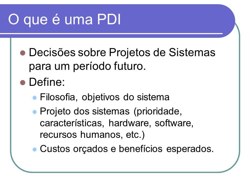 O que é uma PDIDecisões sobre Projetos de Sistemas para um período futuro. Define: Filosofia, objetivos do sistema.