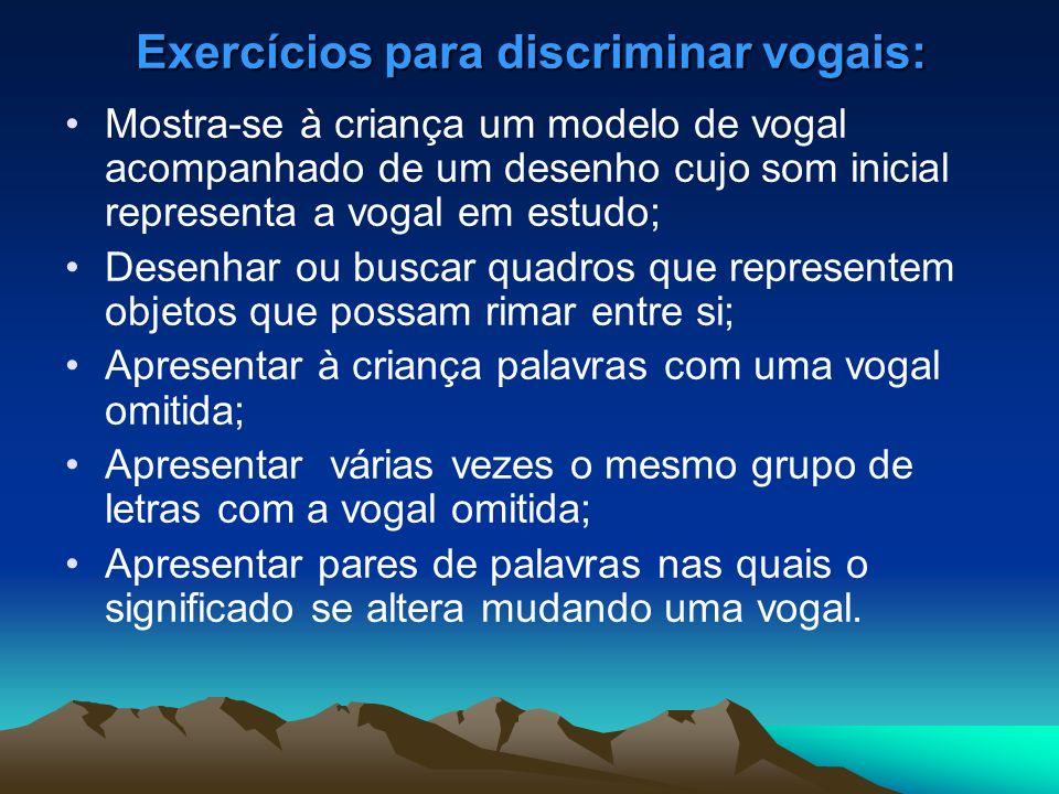 Exercícios para discriminar vogais: