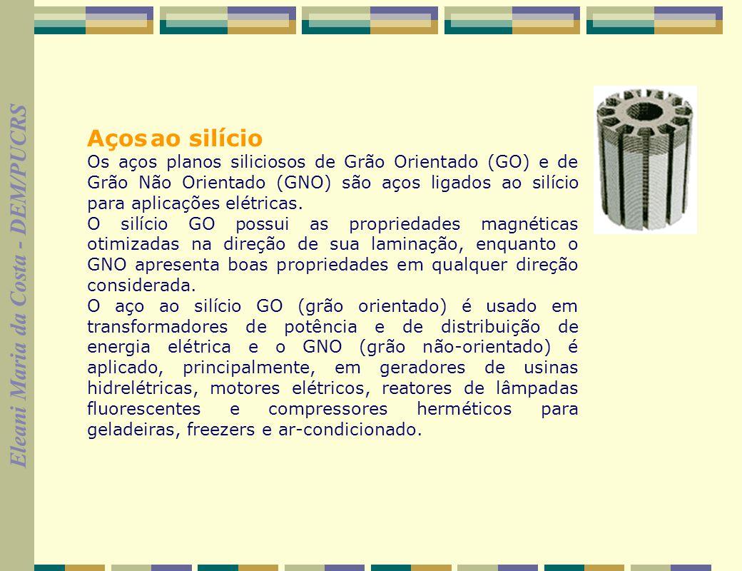 Aços ao silício Os aços planos siliciosos de Grão Orientado (GO) e de Grão Não Orientado (GNO) são aços ligados ao silício para aplicações elétricas.