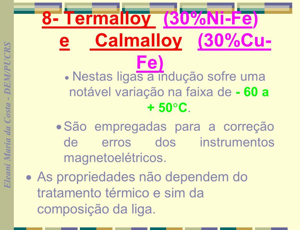 8- Termalloy (30%Ni-Fe) e Calmalloy (30%Cu-Fe)