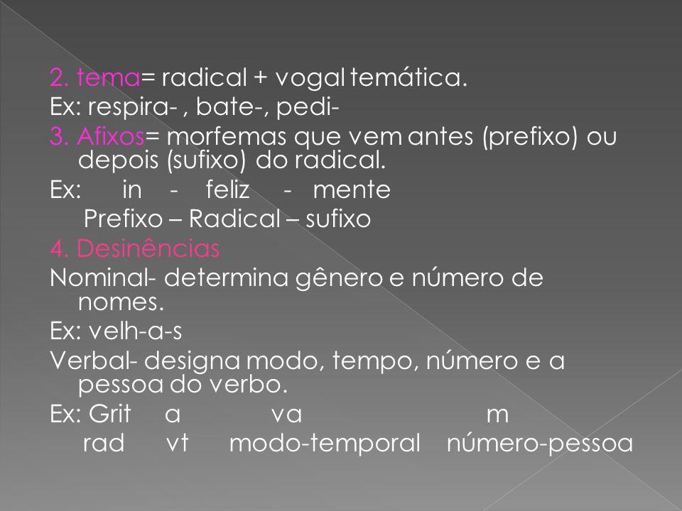 2. tema= radical + vogal temática. Ex: respira- , bate-, pedi- 3