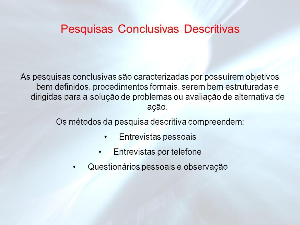 Pesquisas Conclusivas Descritivas