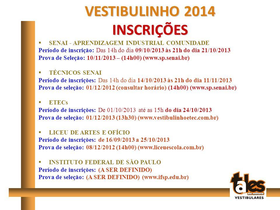 VESTIBULINHO 2014 INSCRIÇÕES