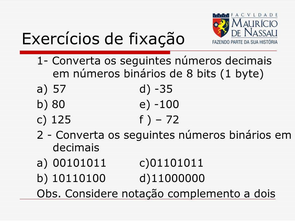 Exercícios de fixação 1- Converta os seguintes números decimais em números binários de 8 bits (1 byte)