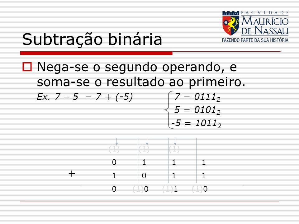 Subtração binária Nega-se o segundo operando, e soma-se o resultado ao primeiro. Ex. 7 – 5 = 7 + (-5) 7 = 01112.