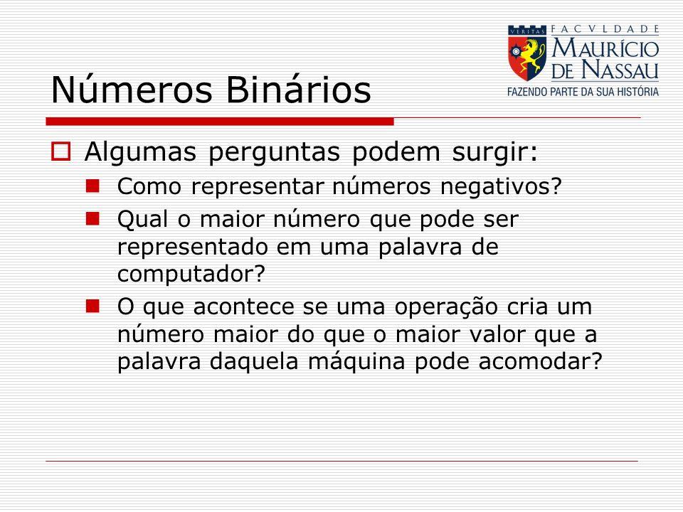 Números Binários Algumas perguntas podem surgir: