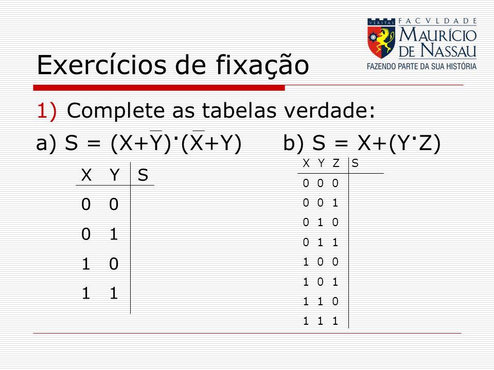 Exercícios de fixação Complete as tabelas verdade: