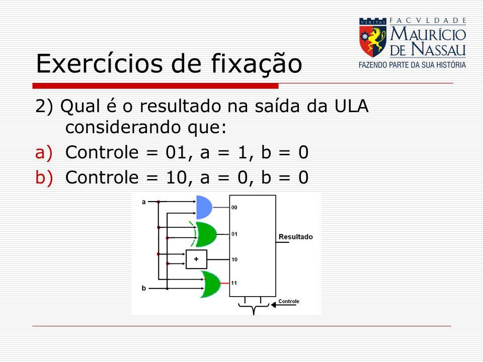 Exercícios de fixação 2) Qual é o resultado na saída da ULA considerando que: Controle = 01, a = 1, b = 0.
