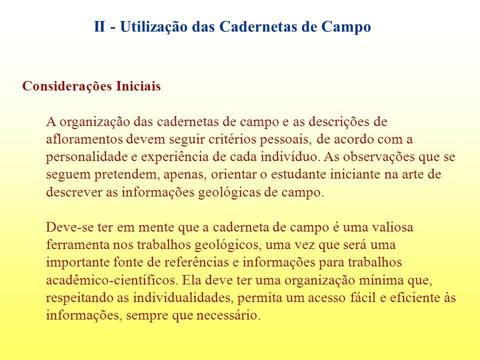 II - Utilização das Cadernetas de Campo
