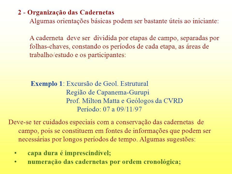 2 - Organização das Cadernetas