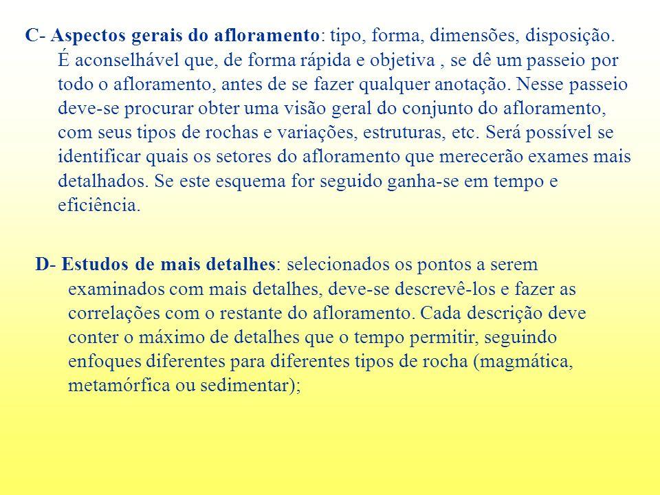 C- Aspectos gerais do afloramento: tipo, forma, dimensões, disposição