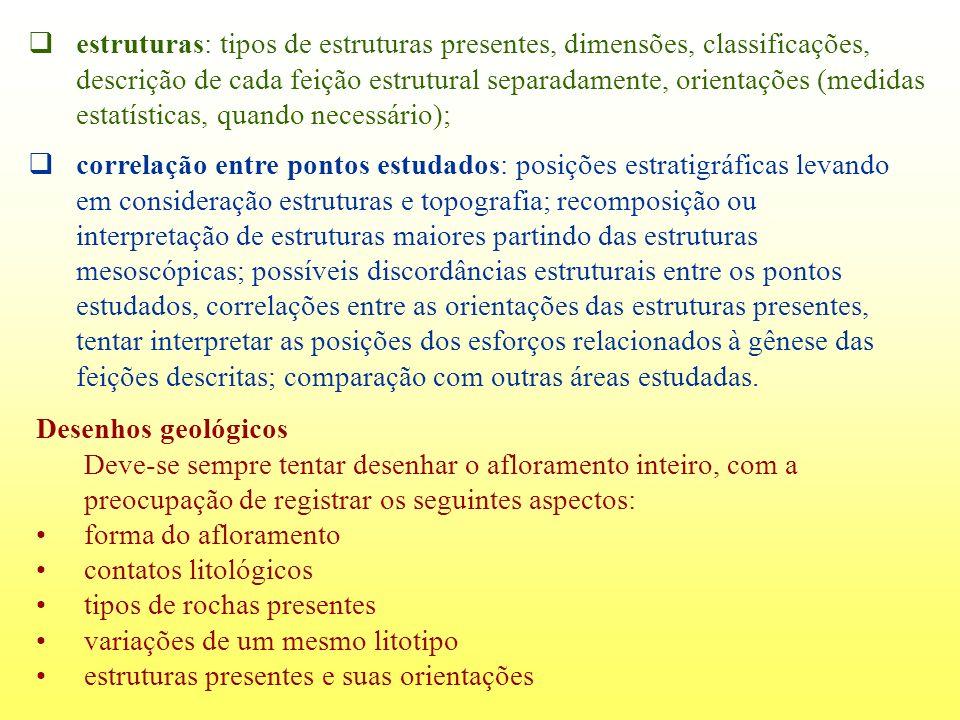 estruturas: tipos de estruturas presentes, dimensões, classificações, descrição de cada feição estrutural separadamente, orientações (medidas estatísticas, quando necessário);