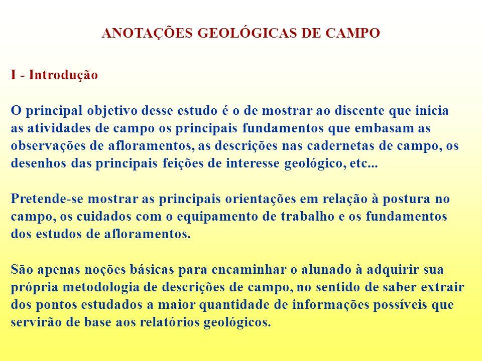ANOTAÇÕES GEOLÓGICAS DE CAMPO