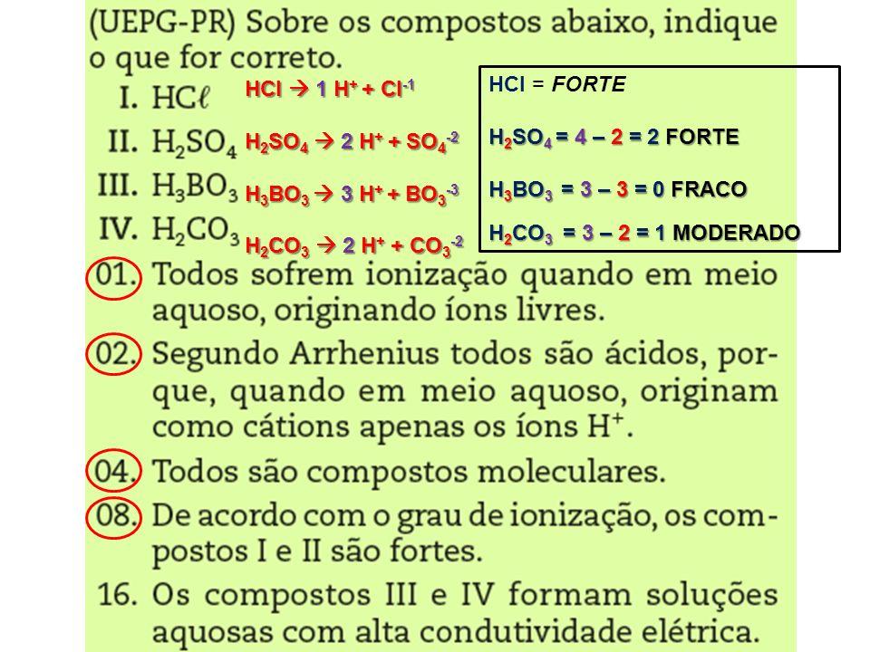 HCl  1 H+ + Cl-1 H2SO4  2 H+ + SO4-2. H3BO3  3 H+ + BO3-3. H2CO3  2 H+ + CO3-2. HCl = FORTE.