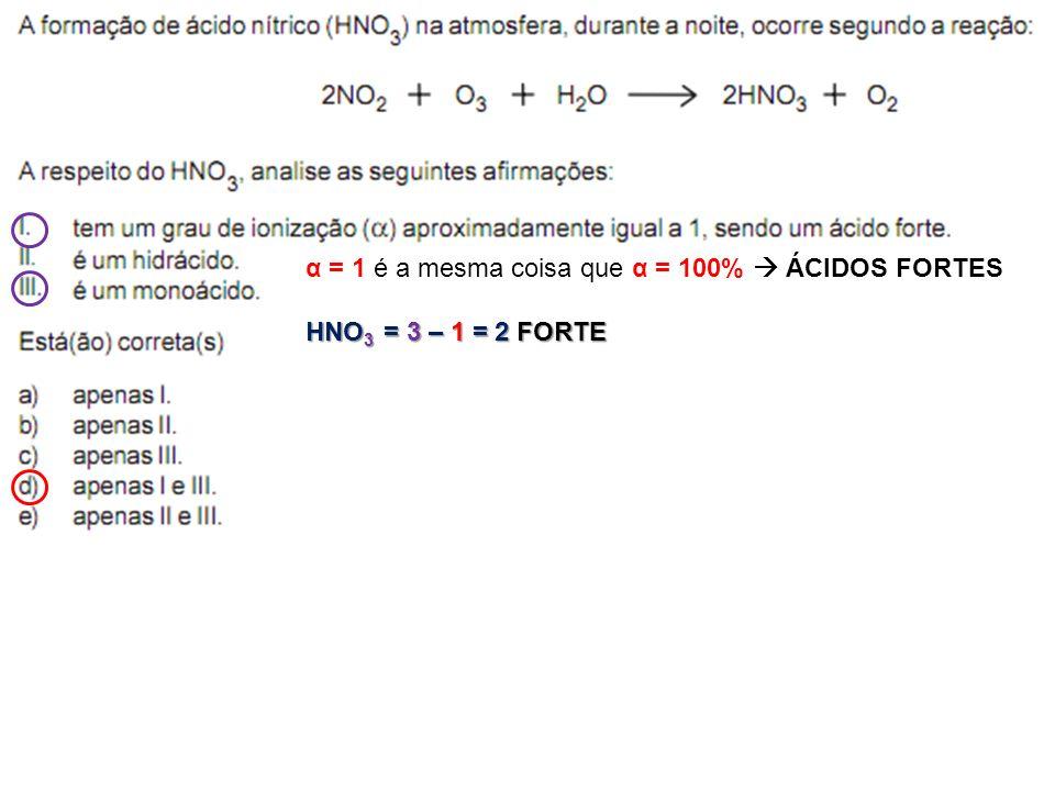 α = 1 é a mesma coisa que α = 100%  ÁCIDOS FORTES