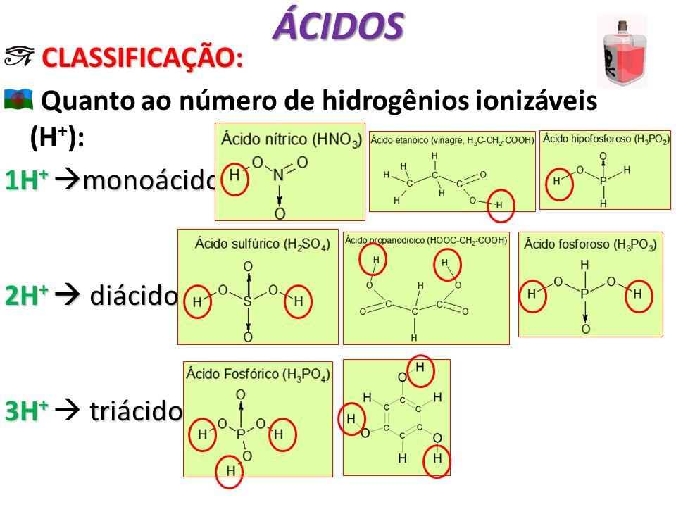 ÁCIDOS CLASSIFICAÇÃO: Quanto ao número de hidrogênios ionizáveis (H+):