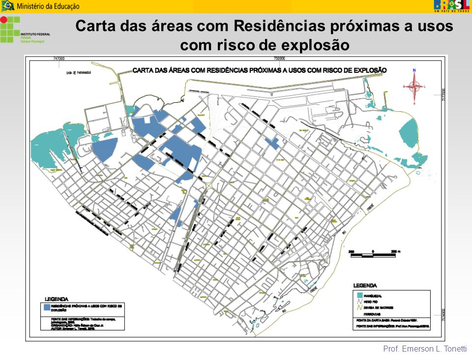Carta das áreas com Residências próximas a usos com risco de explosão