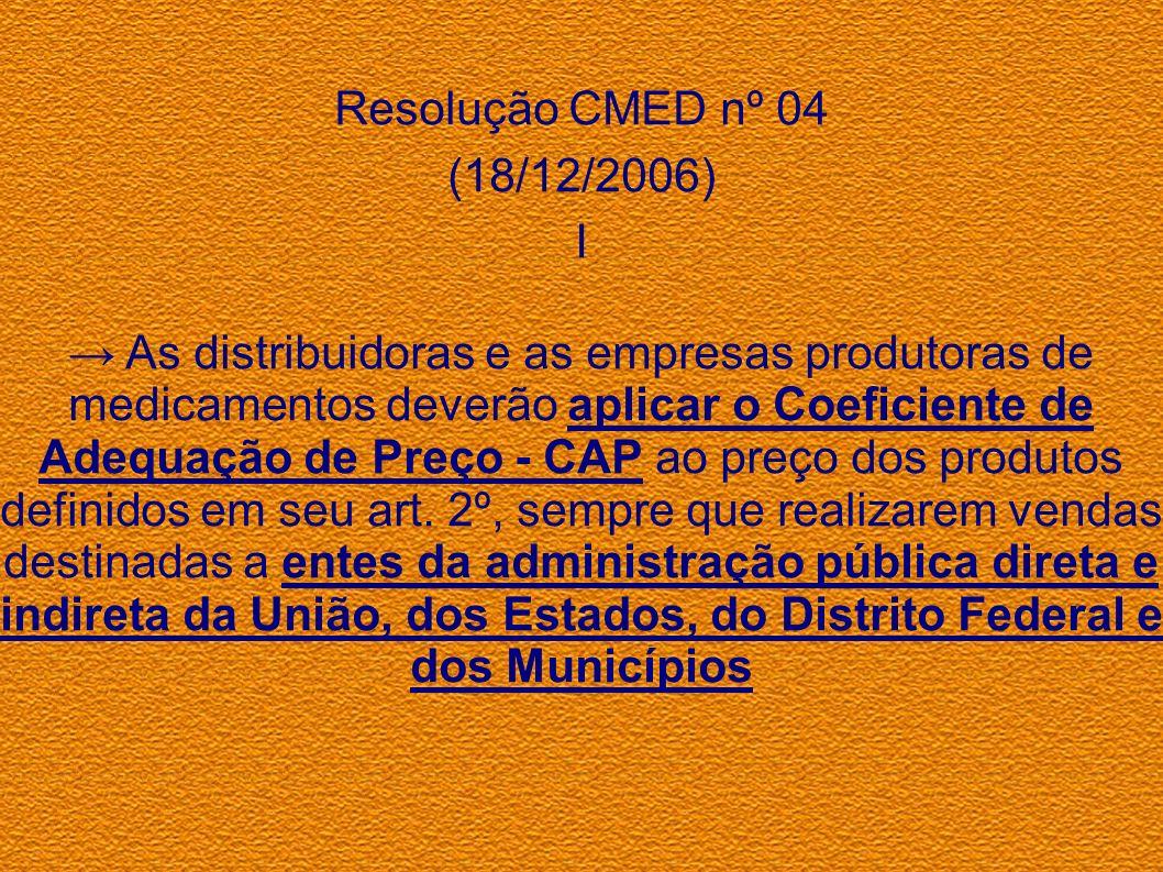 Resolução CMED nº 04(18/12/2006) I.