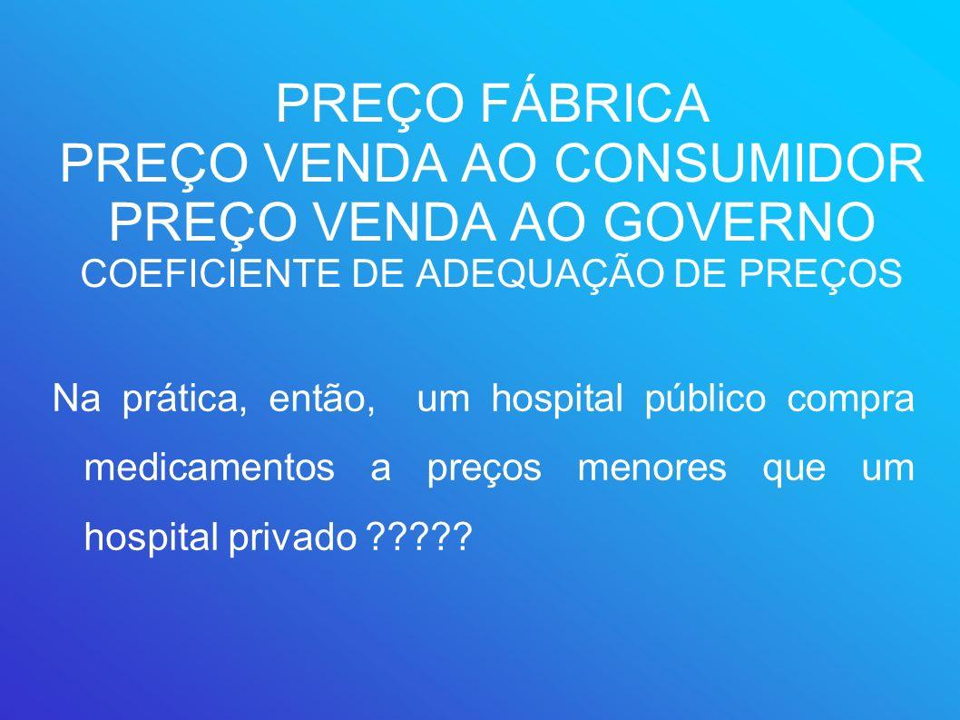 PREÇO FÁBRICA PREÇO VENDA AO CONSUMIDOR PREÇO VENDA AO GOVERNO COEFICIENTE DE ADEQUAÇÃO DE PREÇOS