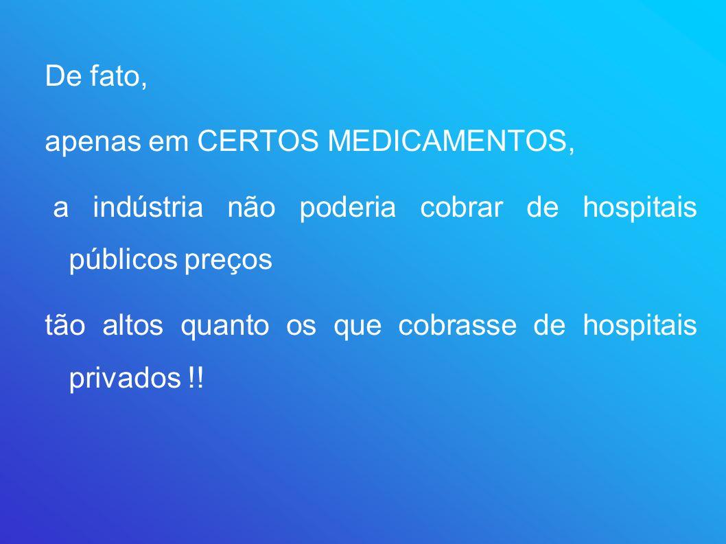De fato, apenas em CERTOS MEDICAMENTOS, a indústria não poderia cobrar de hospitais públicos preços.