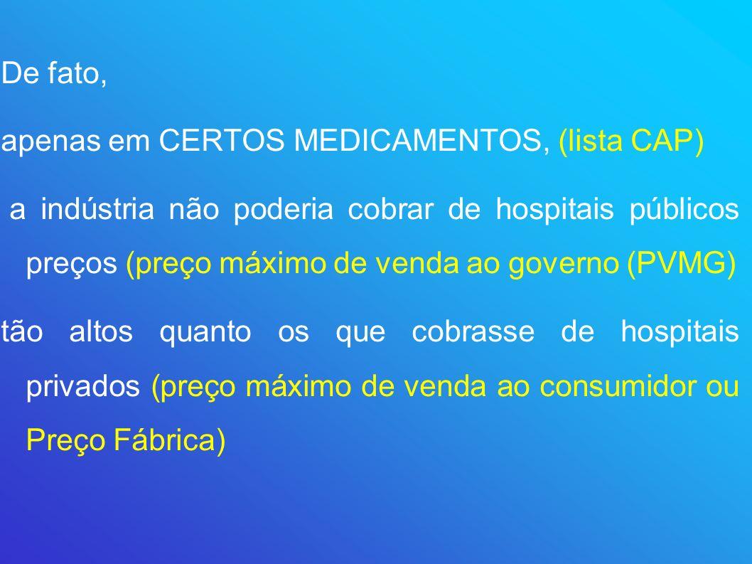 De fato,apenas em CERTOS MEDICAMENTOS, (lista CAP)