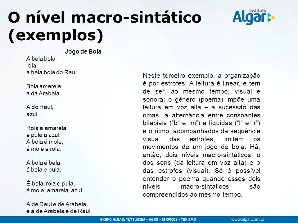 O nível macro-sintático (exemplos)