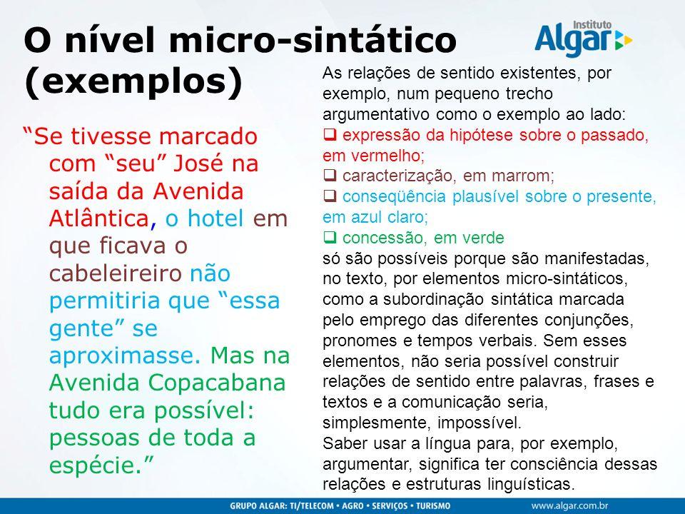 O nível micro-sintático (exemplos)