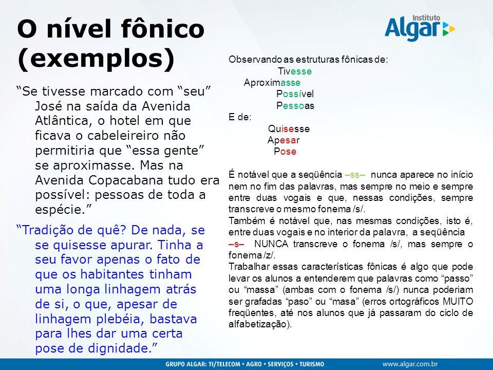 O nível fônico (exemplos)