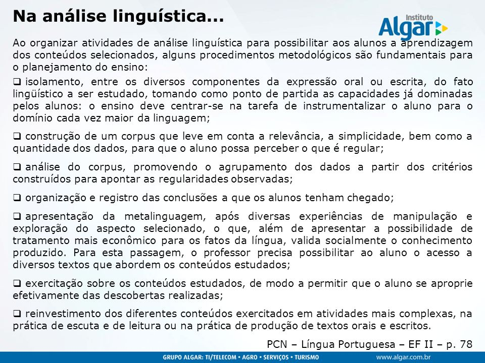 Na análise linguística...