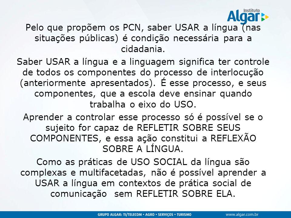 Pelo que propõem os PCN, saber USAR a língua (nas situações públicas) é condição necessária para a cidadania.
