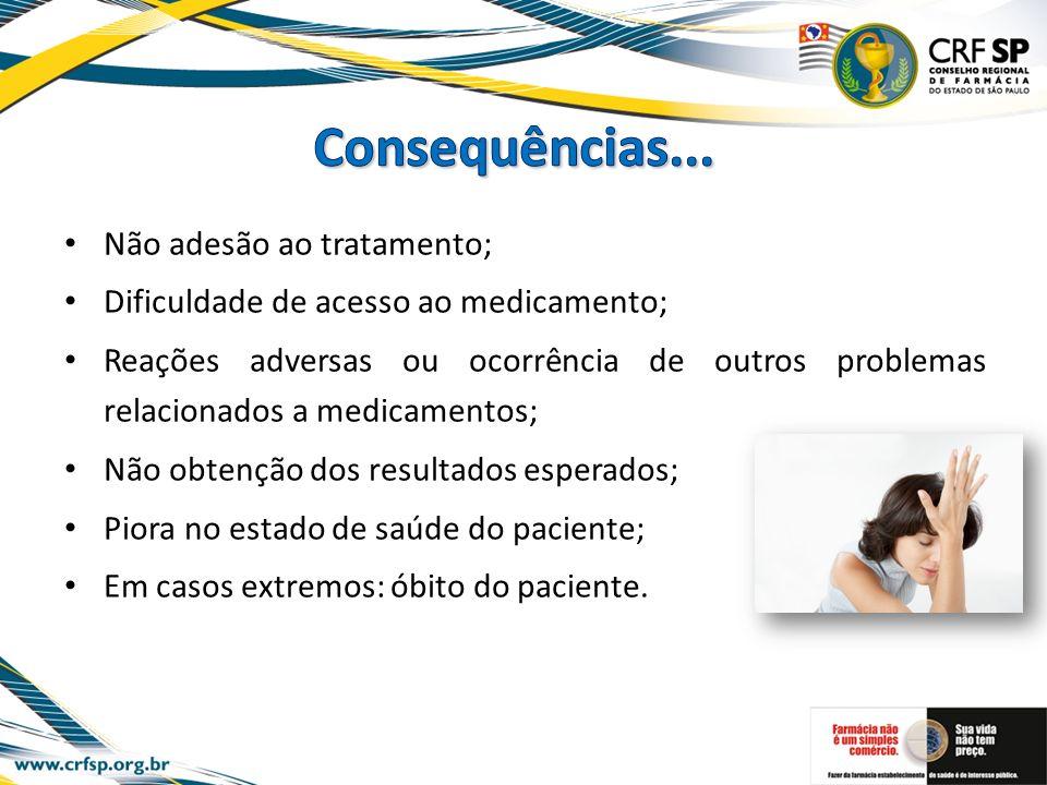 Consequências... Não adesão ao tratamento;