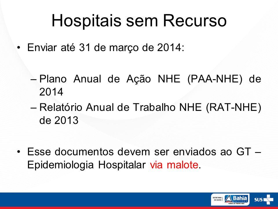 Hospitais sem Recurso Enviar até 31 de março de 2014: