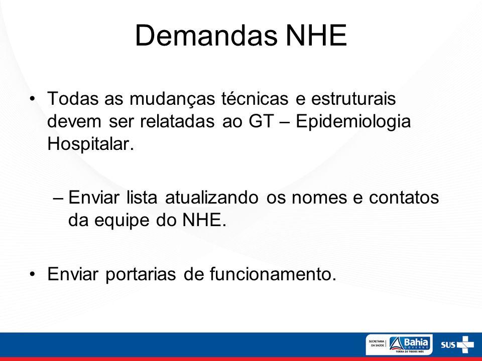 Demandas NHE Todas as mudanças técnicas e estruturais devem ser relatadas ao GT – Epidemiologia Hospitalar.